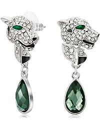 Kemstone Silver Plated Leopard Crystal Dangle Earrings for Women