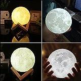Gladle 3D Mondlampe LED Nachtlicht Mondlicht Berührungssensor Holz mit Halter