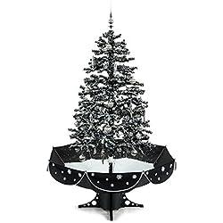oneConcept Everywhite albero di Natale (neve simulata, decorazioni rosse e oro, altezza 180cm, illuminazione LED, effetti musicali) - nero