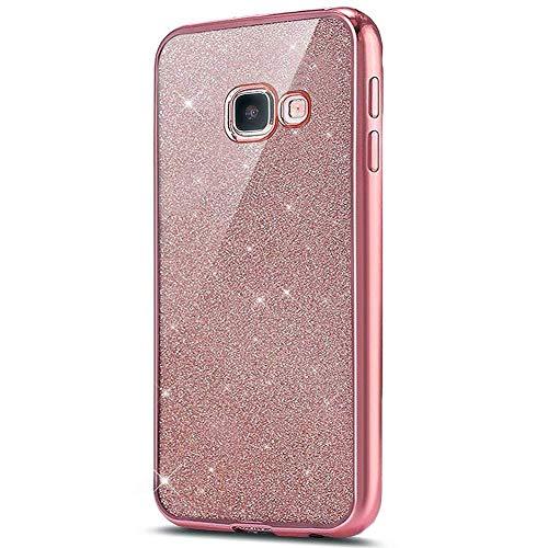 Surakey Cover Compatibile per Samsung Galaxy A5 2016 Glitter Bling Silicone Custodia con Bordo Placcato Lusso Copertina Ultra Sottile Morbida Gomma Crystal Clear TPU Protettiva Bumper Case,Oro Rosa