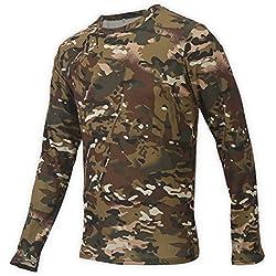 Hommes Camouflage À Manches Longues T-Shirt, Col Rond en Plein Air De Sport Porter Haut Vêtements pour Chasse Randonnée Escalade 3 Tailles(XL)