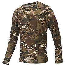 Alomejor Camuflaje de Hombre Camiseta de Manga Larga, Cuello Redondo Ropa Deportiva para Deportes al