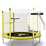 Unbekannt Lxn 60-Zoll-Runde Kinder Mini Trampolin springen mit Sicherheit, Basketballkorb und Armlehne - Geburtstagsgeschenke für Kinder, für Jungen und Mädchen (gelb)