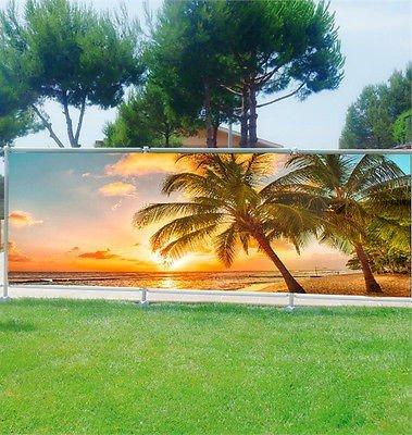 Stickersnews - Brise vue personnalisé, jardin, terrasse, balcon déco Palmiers Tropique réf 9102 Occultation - 100%, Dimensions - 180x70cm