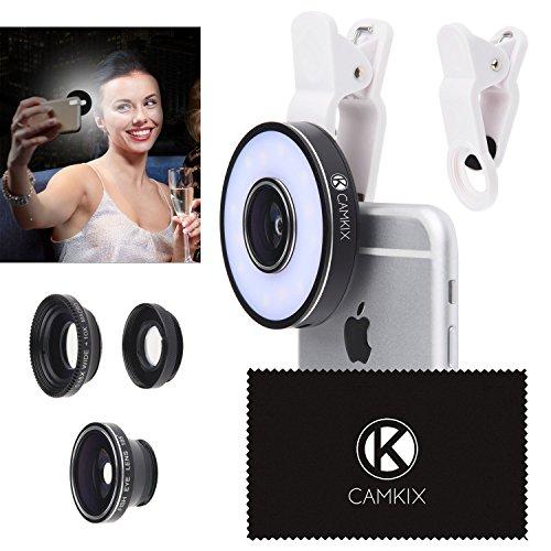 Kamera-Set mit LED-Ringlicht für Telefon / Tablet - Universell - Fischauge, Weitwinkel- und Makro-Objektiv - Erstaunliches Upgrade (für Apple iPhone 7 / SE / 6 / 6S, iPad, Samsung Galaxy S8+, S8, S7/S7 Edge, Tab etc.) (Universelles Kamera-Objektiv-Set mit LED-Ringlicht)