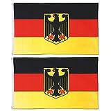 Yaheetech 2 Stück Flagge Deutschland Fahne mit Adler und Ösen 150 x 90 cm Schwarz Rot Gold