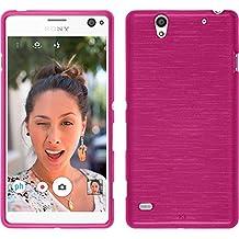 Funda de silicona para Sony Xperia C4 / Dual - brushed rosa caldo - Cover PhoneNatic Cubierta + protector de pantalla