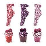 Leapop 1 oder 3 Paare Damen Mädchen Socken Cupcakes Design