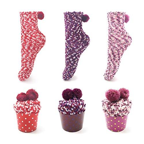Leapop 1 oder 3 Paare Damen Mädchen Socken Cupcakes Design Flauschig Gemütliche Weiche Dicke Warme Weihnachtssocken mit Geschenkbox (3 Paare (rot+lila+pink))