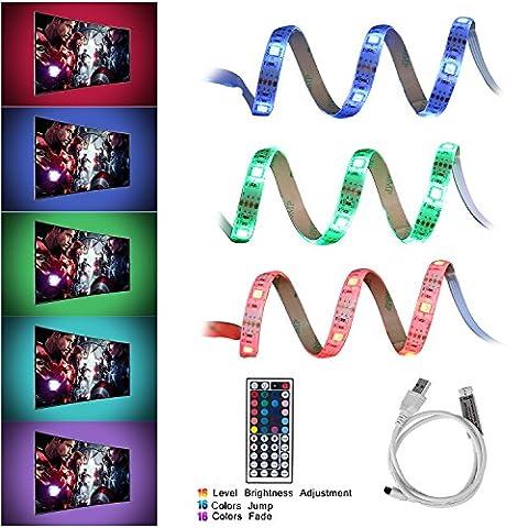 USB Bande LED Lumineuse de 2M Avec Télécommande de 44 Touches pour L'éclairage d'ambiance de TV, Cinéma,Maison, Théatre, Voiture etc (Classe énergétique A+) - Neolight F1