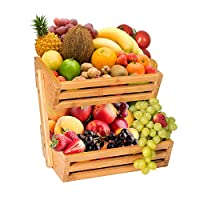 Hossejoy 2-Tier Bamboo Fruit Basket, Bread Storage Stand, Vegetable Rack, Countertop Basket Bowl Holder Tray for Fruit, Vegetables, Snacks, Home, Kitchen and Office