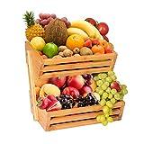 Cestino a 2 ripiani in bambù per pane, verdure, frutta, ciotola, supporto per bancone da cucina, cestino per la casa, vassoio espositore per frutta, verdura, snack, pane