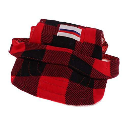 (D DOLITY Einstellbar Hunde Baseball Cap Mütze Kappe Sommer Hundecap Hunde Sonnenhut aus Polyester - Schwarz Rot - S)