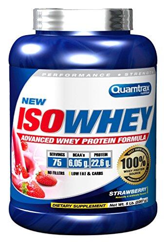 Quamtrax Nutrition Suplemento para Deportistas Isowhey, Sabor a Fresa - 2267 gr