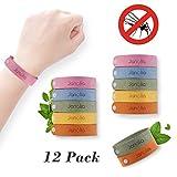 Mückenschutz Armband, Janolia 12 Stück Anti Mosquito Bracelet Repellent Wristband Armband natürlichen Öl sicheres Deef-freies und wasserdichtes Insektenschutz-Armband für Kinder, Erwachsene
