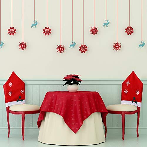 4 Pezzi Copre Sedia di Natale Decor Babbo Natale Rosso Cappello Fiocco di Neve, Coprimobili Set per Natale Decorazioni Bianco Fiocco di Neve