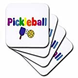 3dRose cst_200134_1 Colorful Pickleball Letters and Paddles Soft Coasters, Set of 4