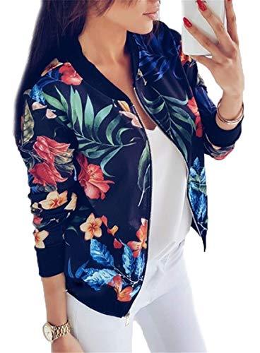 IWFREE Damen Jacke Bomberjacke Bomber Jacke Piloten Elegant Blumenmuster Bedruckte Baseball Mantel Outwear Cardigan Coat Kurz Jacke mit...