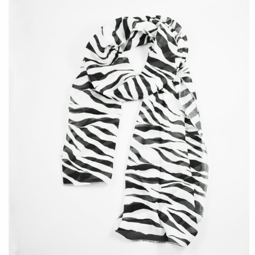 SODIAL(R) Schwarz weisse Zebra Streifen Chiffon Frauen Pashmina Schal - Streifen Schal Pashmina