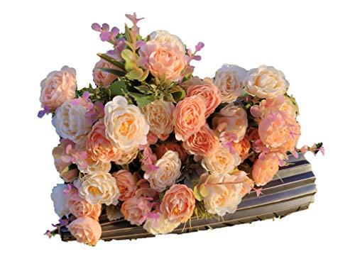 Flores Artificiales Roses con Hojas Sensación Real Decoración Hogar Jardín Hotel Tienda Ideal para la Boda Fiestas Eventos Jarras Macetas (Amarillo, Pack 12 Ramos)