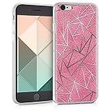 kwmobile Funda para Apple iPhone 6 / 6S - Carcasa de [TPU] para móvil y diseño de triángulos con Purpurina en [Plata/Rosa Fucsia]