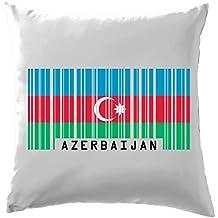 """L'Azerbaïdjan Barcode Style Drapeau Coussin–41x 41cm (40,6cm)–10couleurs, 100 % coton, blanc, 41 x 41cm (16"""")"""