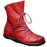 Vogstyle Damen Handgefertigte Schnürsenkel Lederstiefel Flach Leder Stiefeletten Mit Reißverschluss Art 1 Rot EU36/CH37
