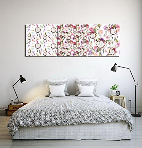 LB Atrapasueños flor_Cuadro de pintura al óleo moderna Impresión de la imagen en la lona Arte de la pared para la sala de estar,Dormitorio,decoración del hogar,3 piezas 40x40,con marco
