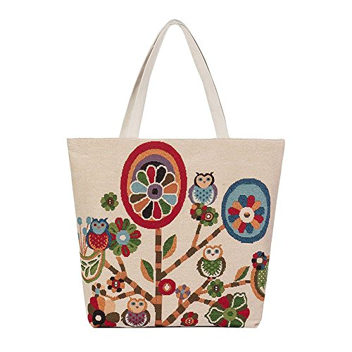 Longra Owl Stampato Canvas Tote casuale Donne Shopping Bag D