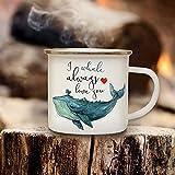 ilka parey wandtattoo-welt Emaille Becher Camping Tasse Wal Kaffeetasse Geschenk maritim Spruch Motto I whale always love you eb129