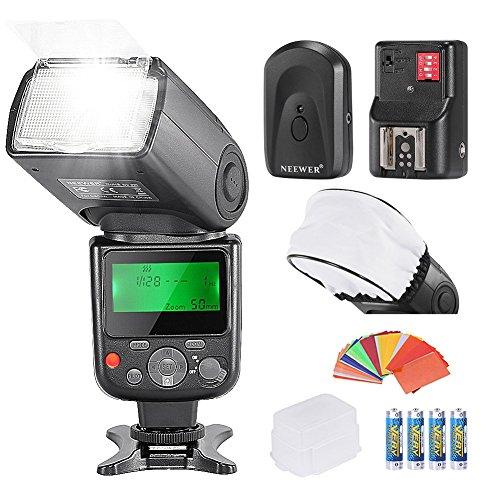 Neewer PRO NW670 E-TTL Foto Flash Kit per CANON Rebel T5i T4i T3i T3 T2i T1i XSi XTi SL1/EOS 700D 650D 600D 1100D 550D 500D 450D 400D 100D 300D 60D 70D DSLR, Canon EOS M Fotocamere Compatte, inclusi: (1)NW670 E-TTL Flash per Canon + (1)Universale Mini Flash Rimbalzo Diffusore Berretto + (1)35 Filtri Gel a Colori + (1)Flash Diffusore + (1)16 Canali Flash Grilletto a Distanza Senza Fili + (4)Batteria LR