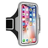 ASHARM Sport Armband, Handy Armband Fitness Universell für Laufen mit Schlüsselhalter, Kabelfach und Kartenhalter, für iPhone 8/7/6/6S/5/5S/SE,Galaxy S7/S6/S5 bis 5.8 Zoll- Grau