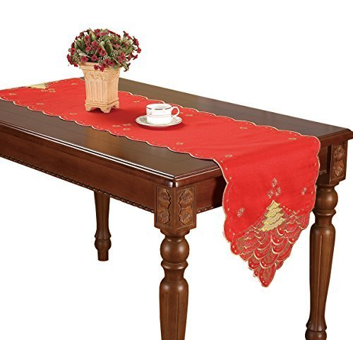 Table Runner Gold Christmas Tree 16 By 72 Inch by Laida (Red Christmas Table Runner)