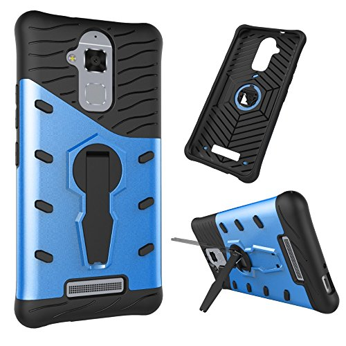 Für Asus Zenfone3 Max ZC520TL Fall Neue Rüstung Tough Style Hybrid Dual Layer Rüstung Defender Soft TPU / PC Rückseitige Abdeckung Fall mit 360 ° Stand [Shockproof Case] ( Color : Blue ) Blue