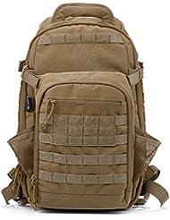 YAKEDA® Bolsa de hombro bolsos del alpinismo al aire libre equipado camuflaje táctico mochila de camping bolsa de viaje Bolsas de viaje Mochila Mochila militar 60L que acampa yendo Trekking Bolsa - A88034 (color barro)