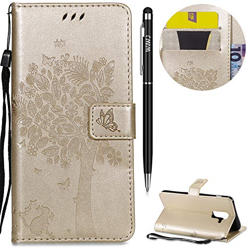 Case for Samsung Galaxy A6 Plus 2018 Case,WIWJ High Quality Classic New Design Cat Tree Pattern Premium PU Leather Wallet Case Magnetic Flip Book Style Cover Case Lanyard Stand Holder Case-Gold