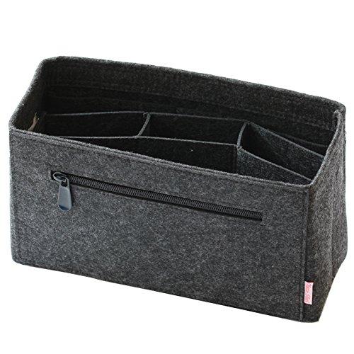 Classic Slash Taschenorganizer Handtaschenordner Taschen Organisator Einsatz aus Filz - Dunkelgrau - Medium - für Taschen ab 27cm Innenmaß