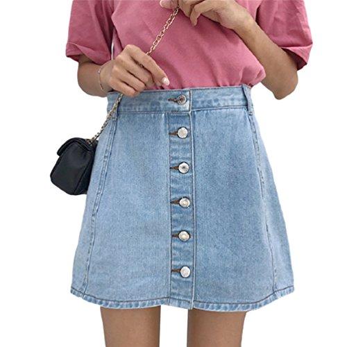 Linnuo minigonna di jeans con bottoni casuale pantaloncini denim a-line skirt vita alta club sportivi donna (#1azzurro,cn l)