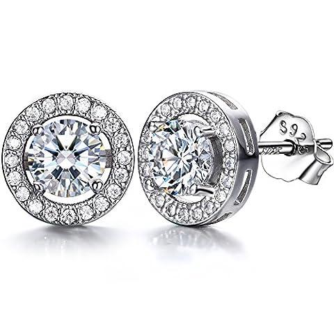 J.SHINE 925 Sterling Silver Stud Earrings for Women Men With
