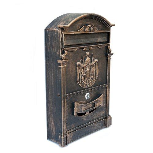ZNL Briefkasten Postkasten aus Aluguss Antiker Wandbriefkasten XBX03 Antik-Gold - 3