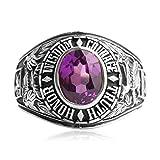 AMDXD Echtschmuck Echt Silber Ring Herren Lila Oval Zirkonia Totem Silber Schwarz Größe 63 (20.1)