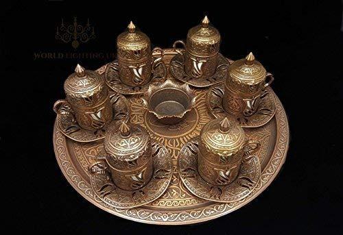 World Home Living – Service à thé et café style ottoman turque avec tasses, soucoupes et plateau en laiton bronze