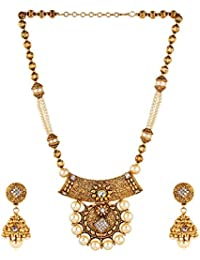Aradhya Gold Plated Traditional Necklace With Earrings For Women And Girls