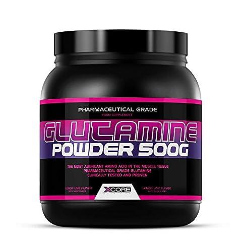 Xcore Nutrition Glutamin Pulver 500g : Lemon & Lime Flavour Supplement mit Zitronen-Limettengeschmack - Fördert Die Muskelregeneration und Stärkt das Immunsystem - 96 Portionen