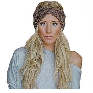hugestore Inverno Donne Crochet maglia fasce per capelli fascia testa Ear waermer Turbante cachi