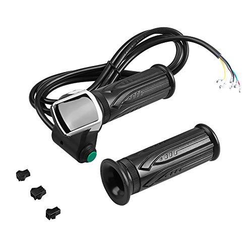 Dilwe Gasgriff Wasserdicht LCD Bildschirm Drehgriff Accelerator Griffe und Gebogen Kabel Set für Elektrische Autos Bike, 36V