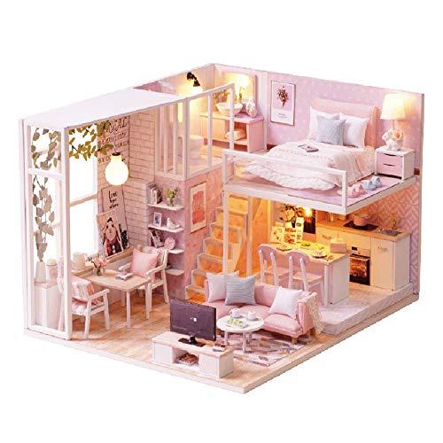 XINGYAN Casa En Miniaturadoll House Kit Rénovation De Meubles Wood Craft Kit De Construction Mini Maison De Bricolage À La Main Avecet Accessoires Miniature Home Caja Transparente(Casa Rosada)