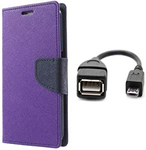 Generic Flip Cover For Samsung Galaxy J5 With OTG Cable (Purple)