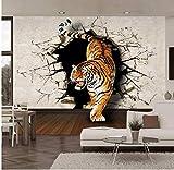 Tigre realistica 3D stereo Immagine della parete rotta Murale Carta da parati Soggiorno Sala da pranzo Personalità Arredamento moderno Carte da parati non tessute Murale gigante 250X175Cm
