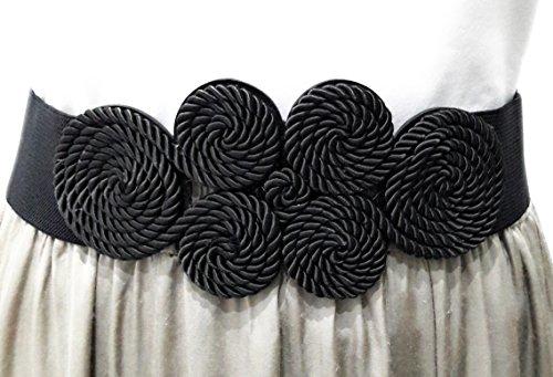 Cinturón Elástico Mujer Fiesta Estilo Cordón de Seda para Combinarlo Con Vestidos o Faldas, Negro